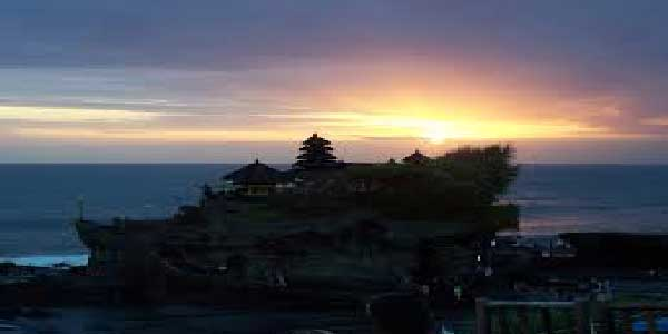 sunset, in tanah lot