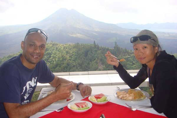 Breakfast with Vulcano Mount Batur view