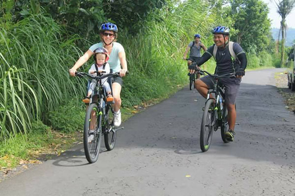 cute baby, bike, batur sunrise bike tour, cycling tour