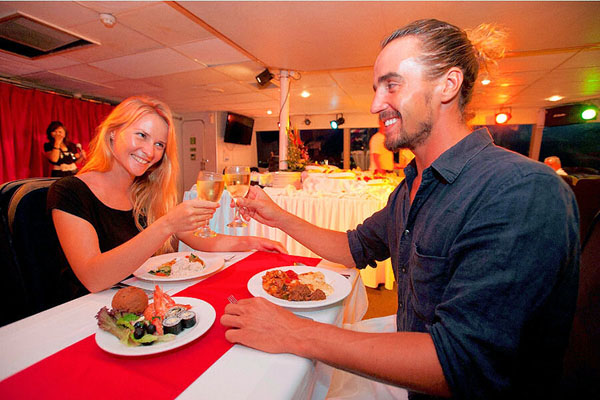 delicious dinner, luxury catamaran cruise, bali hai