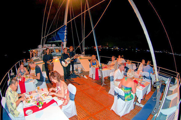 Delicious dinner on the Luxury Sailing Catamaran