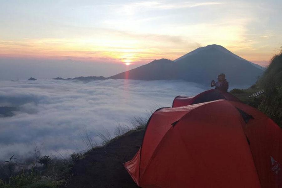Batur trekking camping, sunset view, mount batur trekking