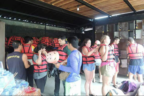 Preparation and briefing from staff before rafting