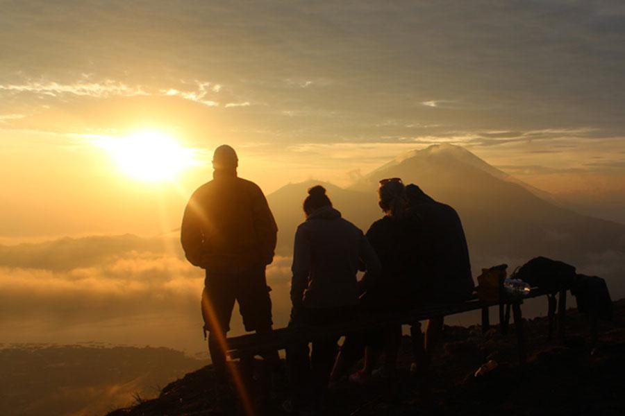 Beautiful sunset, batur, sunset batur trekking